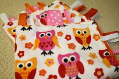 Pink and Orange Owl Sensory Ribbon Tag Blanket by SeamsDivine, $18.00