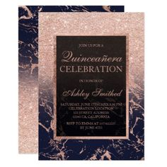 Rose gold glitter navy blue marble Quinceañera Card - elegant gifts classic stylish gift idea diy style