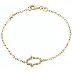 Das Armband Varada Mudra von Maija Design ist ein wundervoller Armschmuck, der aus goldplattiertem 925er Sterlingsilber und einer buddhistischen Symbolhand, die mit Zirkonia-Steinen besetzt ist, gefertigt wurde. melovely.de
