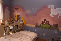 The Tomm Moore's 'Song of the Sea' inspired bedroom I made for my son, by his request. The bedroom of the Sea Sea Bedrooms, The Secret Of Kells, Playroom Mural, Irish Mythology, Song Of The Sea, Animation, My Dream Home, Toddler Bed, Artsy