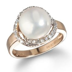 Love Knot Ring with Freshwater Pearl in Rose Gold