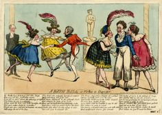 © The Trustees of the British Museum  A bath ball or virtue in danger.  George Cruikshank, 6 January 1820  Hand-coloured etching
