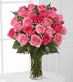 2 Dozen Pink Roses - VASE INCLUDED