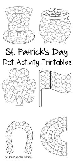 Patrick's Day Dot Activity Printables These St. Patrick's Day do a dot worksheets provide a quick and easy activity for young kids, while introducing and getting them excited about the holiday. do a dot March Crafts, St Patrick's Day Crafts, Arts And Crafts, Kid Crafts, Easy Crafts, Saint Patricks Day Art, St Patricks Day Crafts For Kids, St Patrick Day Activities, Dotted Page