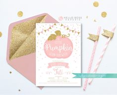 Little Pumpkin on the Way Invitation . Pumpkin Girl Baby Shower Invitation . Little Pumpkin Printable . Pink and Gold . Digital Download by hellorosepaperie on Etsy https://www.etsy.com/listing/528508432/little-pumpkin-on-the-way-invitation