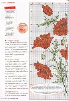 Cross-stitch Wild Red Poppies, part 3..  color chart on part 4..