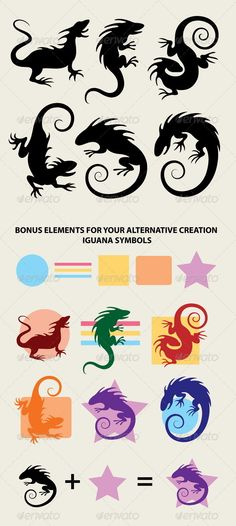 Iguana Silhouette Symbols #GraphicRiver Very smooth and detail iguana silhouette symbols. Easy to edit or change color, ZIP file included : AI, EPS (Vector file, you can use any size you want without loss quality), you can edit with Adobe Illustrator, JPEG (High resolution 2715×6050 px), and PNG (transparent background / isolated object), you can edit with Adobe Photoshop. Bonus elements, you can make many alternative symbol and color. No layers. Created: 18February13 GraphicsFilesIncluded…