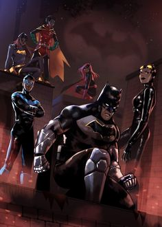 Batman with fam and Catwoman