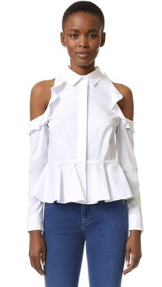 Jonathan Simkhai Cold Shoulder Cotton Peplum Shirt In White Long Sleeve Peplum Top, Long Sleeve Shirts, White Peplum Tops, White Button Down Shirt, Ruffle Shirt, Jonathan Simkhai, Fashion 2017, Blouse, Trending Outfits
