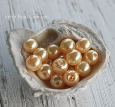 6 mm Pearls Yellow Pearls Glass Pearls Glass Beads by FreshBeadsCo, $3.25