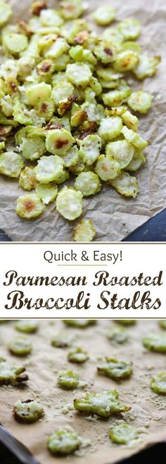 Save money – don't throw away your broccoli stalks! These Parmesan Roasted Broccoli Stalks are so easy and even kids love them! Really! Roasted Parmesan Broccoli Stems are a great healthy snack recipe, or a quick dinner side dish recipe. These oven roasted broccoli chips are quick and easy, and they deliciously use a part of the broccoli that's often discarded. Plus, you get some really cute, fun shapes, too – a perfect way to get your kids to eat more vegetables!   www...