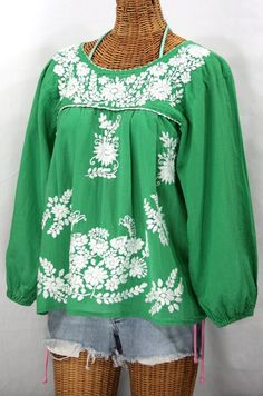 Siren │ La Mariposa Larga Embroidered Mexican Style Peasant Top