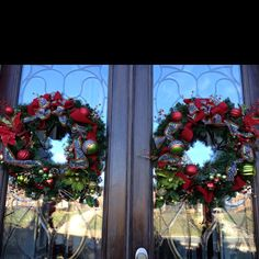 Christmas wreaths for double front doors I made!