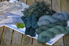 cloth, locks anf yarn dyed with black hollyhock