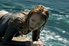 The actress plays a resourceful surfer who's trapped by the bloodthirsty animal.