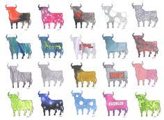 Colección de toros. Acuarela y tinta.