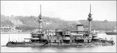 French predreadnought (ironclad) battleship Hoche before her 1895 refit. Since her aft armoured mast has not yet been replaced by a pole mast.