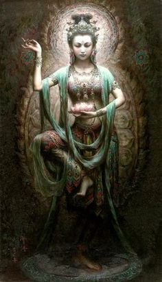 Kuan Yin Buddhist Goddess of Mercy and Compassion Kuan Yin (also spelled Guan Yin, Kwan Yin) is the bodhisattva of compassion venerated by East Asian Buddhists. Commonly known as the Goddess of Mercy,. Dunhuang, Sacred Feminine, Divine Feminine, Mystique, Illustration, Guanyin, Gods And Goddesses, Dragons, Tarot