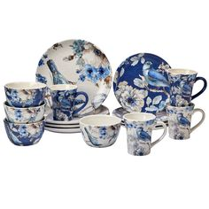 Certified International Indigold 16 -Piece Dinnerware Set (Dinnerset), Blue (Ceramic, Animal)