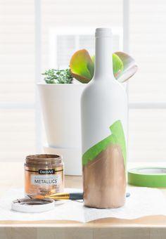 Front yard planters - Upcycled wine bottle bud vase