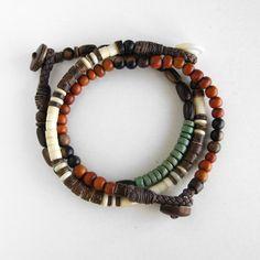 Mens beaded bracelet set red orange white bone by DistinctRemarks