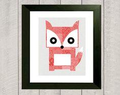 Fox Nursery Art Print  Woodland Nursery  by DeliveredByDanielle, $11.00