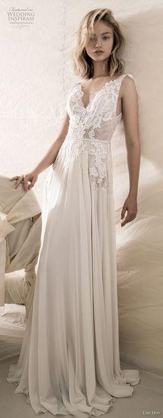lihi hod 2018 bridal sleeveless v neck heavily embellished bodice romantic soft a  line wedding dress open v back sweep train (4) mv -- Lihi Hod 2018 Wedding Dresses