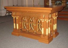 Altar made from sections of a former communion rail.