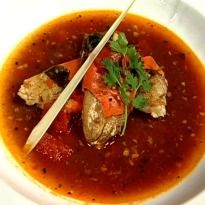 Steamed Crab with Tomato and Dal Rasam Recipe - Steamed crab served with flavour-infused rasam and crisp appalam.