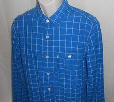 LEVI'S Casual Shirt Men Size L Modern Fit Blue Plaid Plaid Cotton Long Sleeve