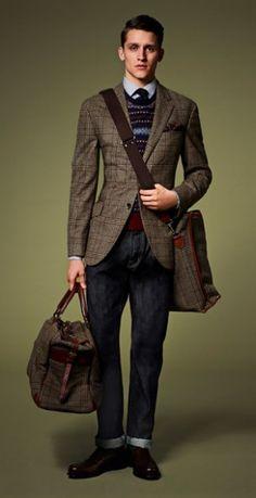 Braedyn- Plaid Jacket, Burgundy Fair Isle Sweater, Dark Slim Jeans, Hartman Tweed Bags, and Black Brogues. Men's Fall Winter Ivy League Fashion.