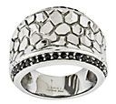 Steel by Design Black Crystal Cobblestone Ring — QVC.com