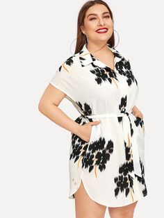 Shop Plus Batwing Sleeve Curved Hem Belted Shirt Dress online. SHEIN offers Plus Batwing Sleeve Curved Hem Belted Shirt Dress & more to fit your fashionable needs. Belted Shirt Dress, Dress P, Dress Clothes, Plus Size Dresses, Plus Size Outfits, Casual Dresses, Fashion Dresses, Summer Dresses, Natural Clothing