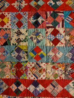 FOUR PATCH CONCENTRIC FRAMES VINTAGE QUILT
