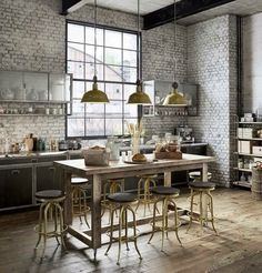 Brick walls, industrial lighting, loft living, industrial design, bar stools, metal accents, subway tile, wood flooring