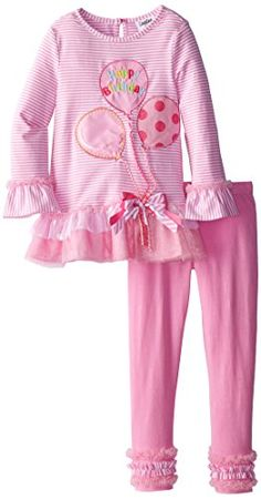 Rare Editions Little Girls' Striped Legging Set with Tulle Ruffles
