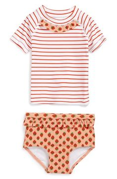 Tucker + Tate Two-Piece Rashguard Swimsuit (Baby Girls) | Nordstrom