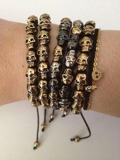 Black Metallic Gold Silver Pewter Skull Macrame Bracelet - Arm Party - Celebrity Favorite Skulls. $25.00, via Etsy.: