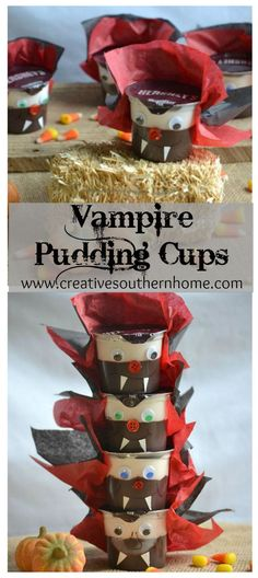 Easy, quick craft for Halloween treats!  Vampire Pudding Cups!  Use supplies you have at home and whip up a batch in just a few minutes.  www.creativesouthernhome.com #ReadySetSnack [Ad]