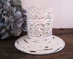 Shabby Chic Candle Holder Antique White Wedding