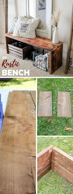 Check out the tutorial: #DIY Rustic Bench #crafts #homedecor #rustic