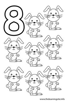 Number Eight Flashcard – 8 Rabbits – The Learning Site Preschool Color Activities, Preschool Number Worksheets, Number Flashcards, Numbers Preschool, Preschool Printables, Teaching Shapes, Teaching Kids, Alphabet Coloring Pages, Coloring Sheets