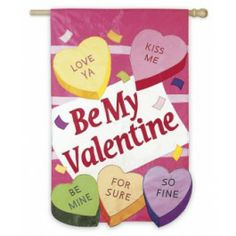 "Flags A Flying ""Candy Hearts"" Seasonal Applique Garden Flag - Valentine's Day #valentinesday #vday #bemine #banner #gardenflag #flagsaflying"