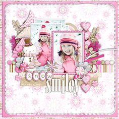 Snow Smiley scrapbook layout by Cindy Schneider