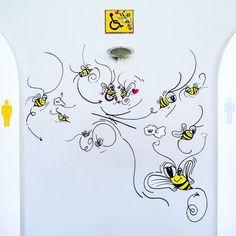 Wall painted with posca markers. (Wc)#art #posca #markers #wc #handpainted #wallart #bee #bees #ilovetobeehere #yellow  #photography  #love #team #like #follow #artphotography #inspiration #greece #beeart #hellas #greekartist #worldofartists #instaart #photooftheday #yellowlicious