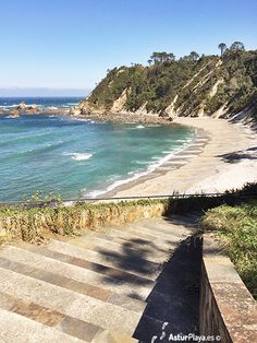 Stairs to the Castello beach in Asturias, Spain, a place we found almost always empty and full of surprises! Asturias Spain, Most Beautiful Beaches, Empty, Stairs, Water, Outdoor, Beaches, Viajes, Gripe Water