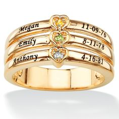 18k Gold over Sterling Silver Personalized Round Birthstone Heart Family Ring.  I'm gonna order this with my 3 precious grand babies info on it!!!