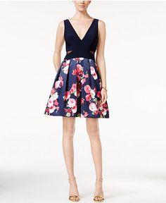 cc9027adadf Xscape Floral-Print Fit   Flare Dress   Reviews - Dresses - Women - Macy s