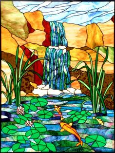 Koi pond waterfall--looks like my water garden