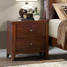 Homelegance Verity 2 Drawer Nightstand in Cherry - 2239-4 from BEYOND Stores